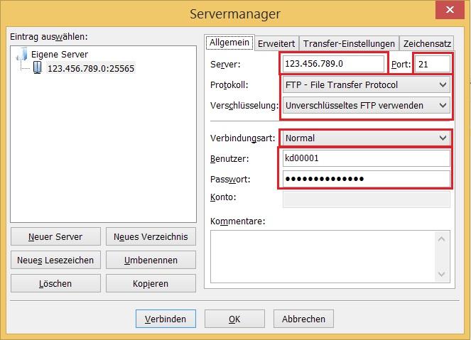 FileZilla Servermanager ausfüllen