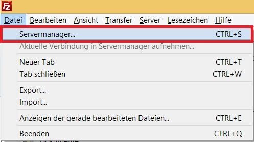 FileZilla Servermanager öffnen